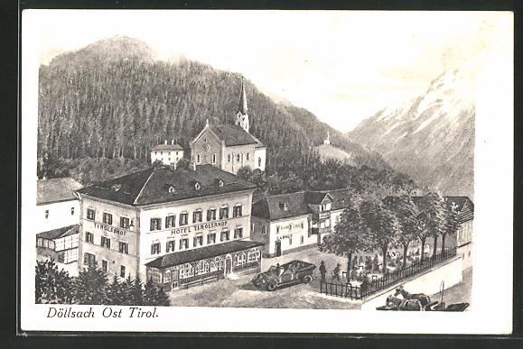 AK Döllsach, Hotel Tirolerhof & Kirche aus der Vogelschau 0