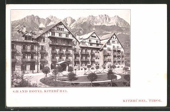 AK Kitzbühel, Grand Hotel mit Gebirge im Hintergrund 0