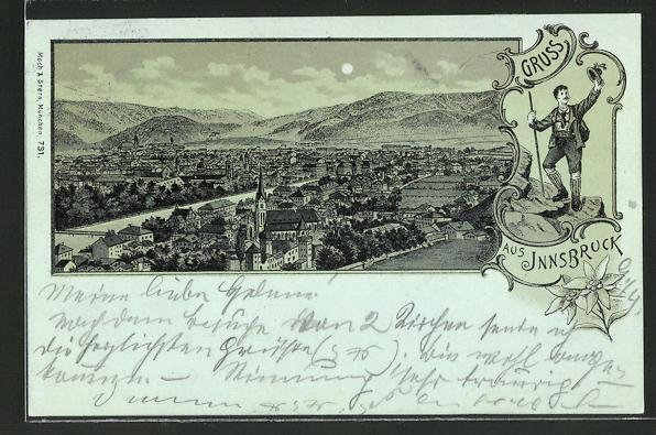Mondschein-Lithographie Innsbruck, Ortsansicht aus der Vogelschau 0