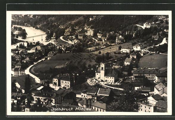 AK Innsbruck-Mühlau, Kirche mit Umgegend aus der Vogelschau 0