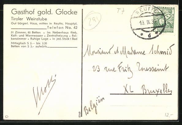 AK Reutte, Gasthof Goldene Glocke, Bes. Karl v. Wiesenese, Vorderansicht 1