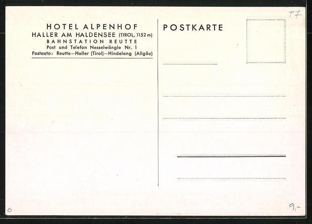 AK Haller, Hotel Alpenhof am Haldensee 1