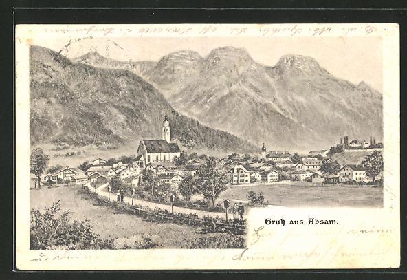 Künstler-AK Absam, Ortsansicht gegen die Berge 0