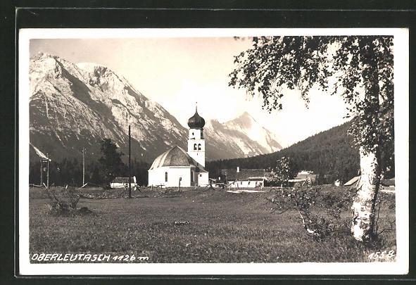 AK Oberleutasch, Blick zur Kirche 0