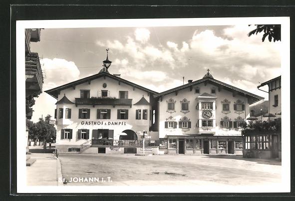 AK St. Johann, Ortspartie am Gasthof zum Dampfl 0