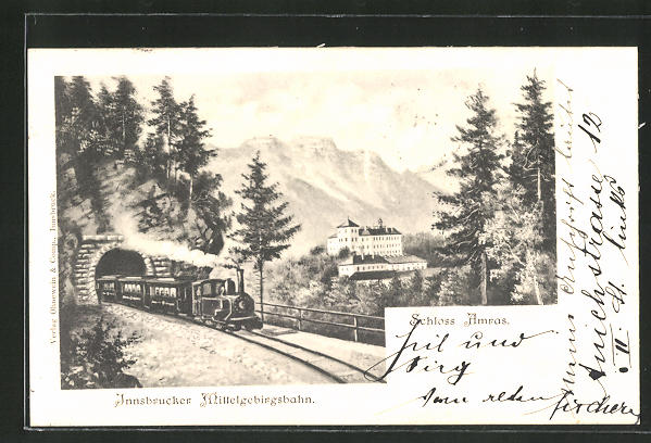 AK Innsbruck, Innsbrucker Mittelgebirgsbahn passiert Schloss Amras 0
