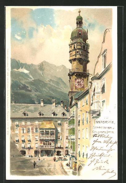 Künstler-AK Innsbruck, Gasthaus Goldenes Dachl & Stadtthurm 0