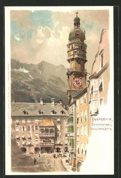 Künstler-AK Innsbruck, Gasthaus Goldenes Dachl & Satdtturm 0