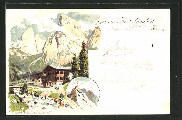 Lithographie Kufstein in Tirol, Blick zum Gasthaus Hinterbärenbad 0