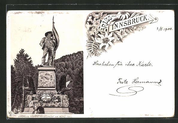Lithographie Innsbruck, Andreas Hofer-Monument am Berg Isel 0