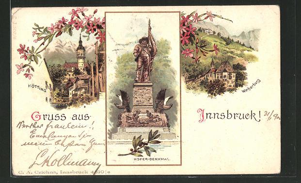 Lithographie Innsbruck, Hötting, Hofer-Denkmal, Weiherburg 0