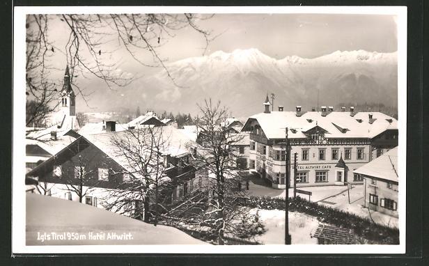 AK Igls, Teilansicht mit Hotel Almwirt im Winter 0