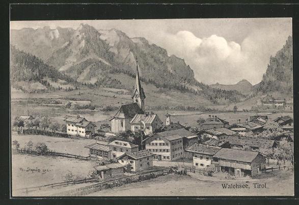 Künstler-AK Walchsee in Tirol, Ortsansicht mit Kirche 0