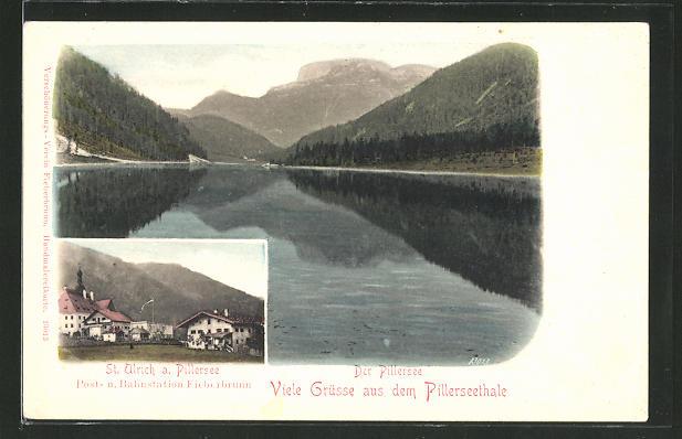 AK St. Ulrich am Pillersee, Häuserpartie Landschaftspanorama 0