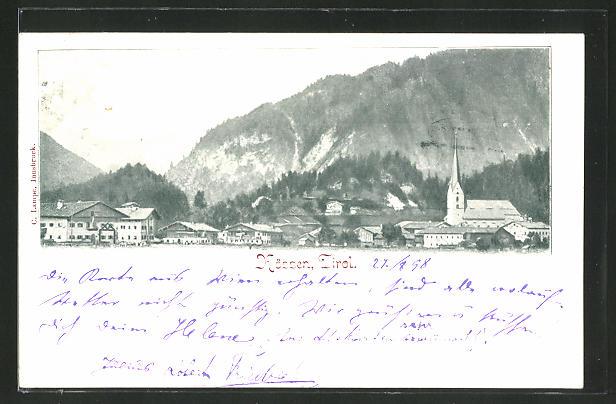 AK Kössen in Tirol, Ortsansicht mit Kirche 0