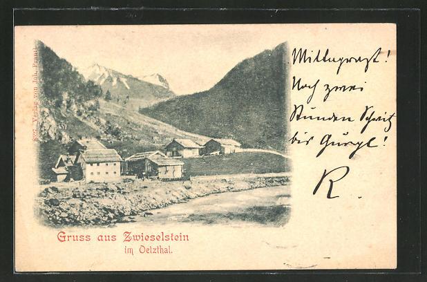 AK Zwieselstein, Ortspartie im Gebirge 0