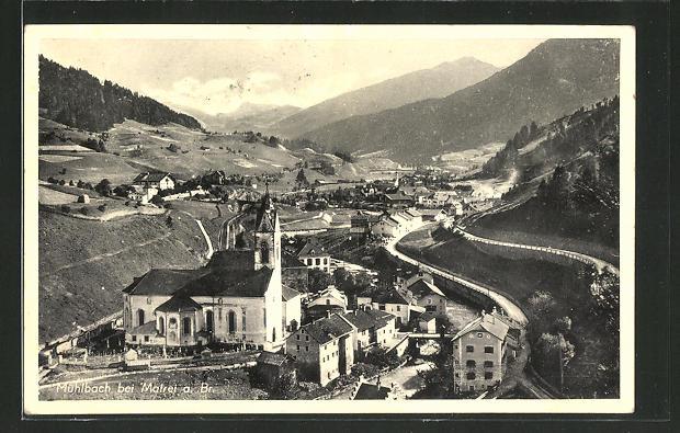 AK Mühlbach am Brenner, Ortspanorama aus der Vogelschau 0