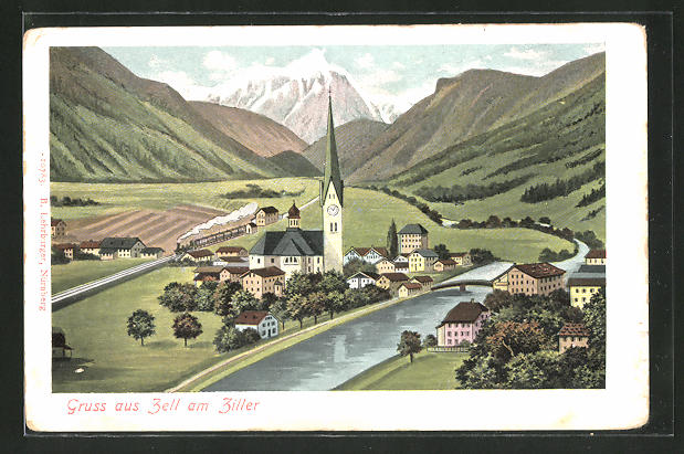 AK Zell am Ziller, Ortspartie mit Kirche am Fluss 0
