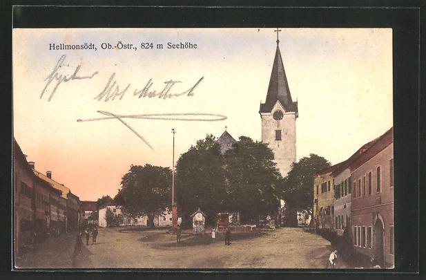 AK Hellmonsödt, Partie am Marktplatz mit Kirche 0