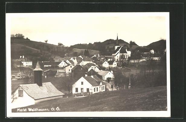 AK Waldhausen, Ortspartie mit Kirche 0