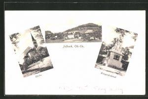 AK Julbach, Ortsansicht, Blick auf Kirche und Kriegerdenkmal