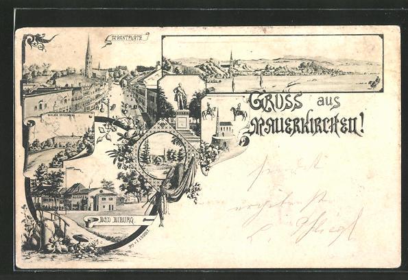 AK Mauerkirchen, Bad Biburg, Marktplatz, Denkmal, Schloss Spitzenberg, Totalansicht 0