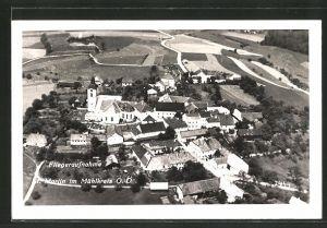 AK St. Martin i. Mühlkreis, Ortsansicht aus der Vogelschau