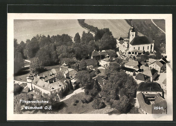 AK Wimsbach, Fliegeraufnahme mit Schloss und Kirche 0