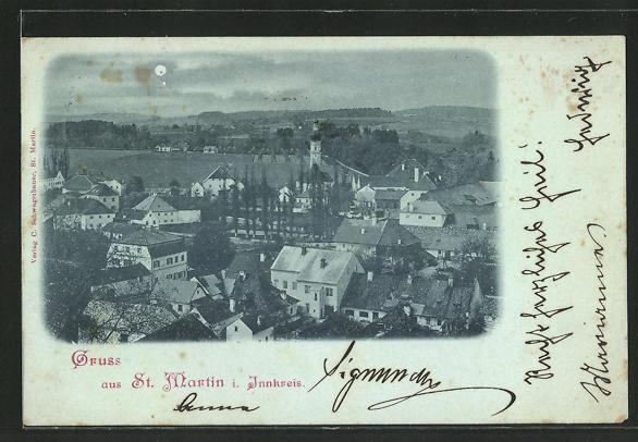 Mondschein-AK St. Martin i. Innkreis, Teilansicht mit Kirche 0