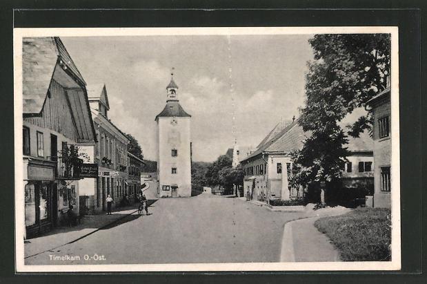 AK Timelkam, Strassenpartie mit Kirche 0