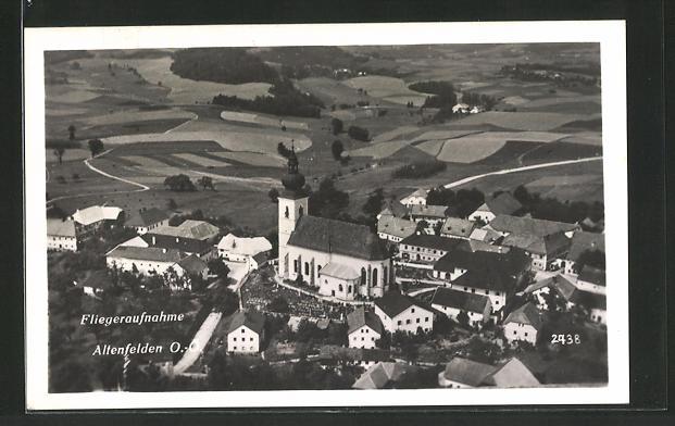 AK Altenfelden, Fliegeraufnahme der Kirche 0