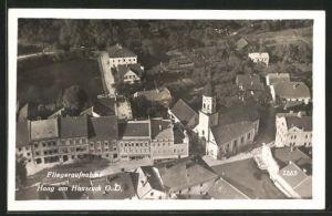 AK Haag am Hausruck, Kirche mit Umgegend vom Flugzeug aus