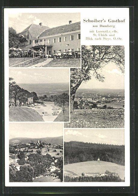 AK Steyr, Schoiber's Gasthaus am Damberg, Ortsansicht 0