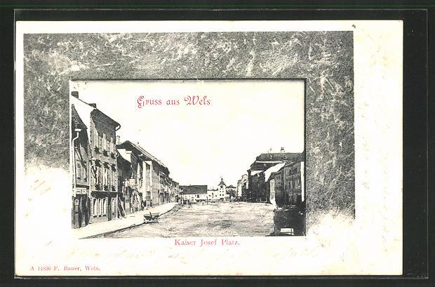 AK Wels, Kaiser Josef Platz mit Häuserzeile 0