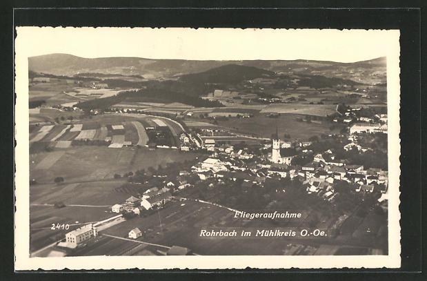 AK Rohrbach im Mühlkreis, Totalansicht vom Flugzeug aus 0
