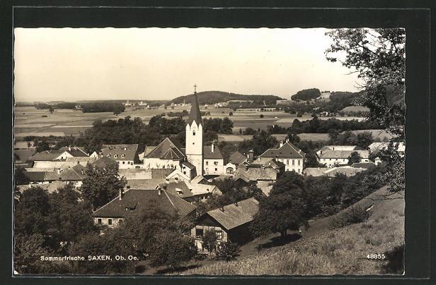 AK Saxen, Panoramablick zur Kirche 0
