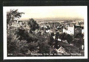 AK Schwertberg, Gesamtansicht gegen die Alpen mit Schloss Schwertberg