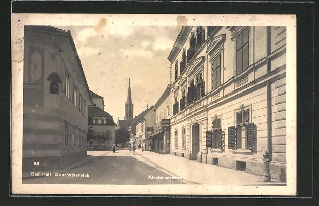 AK Bad Hall, Teilansicht mit Kirchenstrasse 0