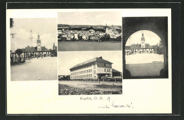 AK Kaplitz, Lazarett, Kirche, Blick durch ein Tor, Totalansicht 0