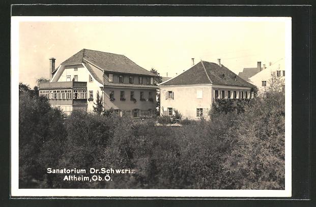 AK Altheim, Sanatorium Dr. Schwariz hinter Bäumen versteckt 0