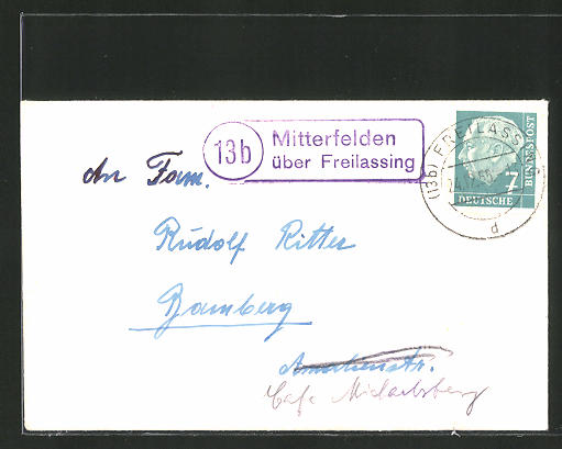 AK Landpoststempel Mitterfelden über Freilassing, auf Briefumschlag 0