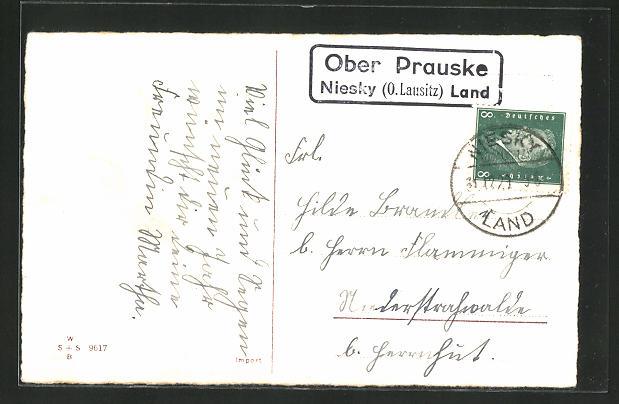 AK Landpoststempel Ober Prauske, Niesky (O. Lausitz) Land 0