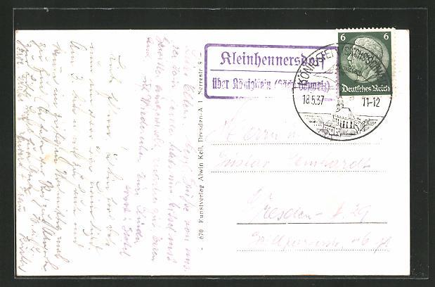 AK Landpoststempel Kleinhennersdorf über Königstein (Sächs. Schweiz) 0