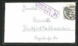 AK Landpoststempel Lautern über Bensheim, auf Briefumschlag