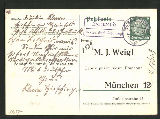 AK Landpoststempel Schwend über Sulzbach-Rosenberg 0