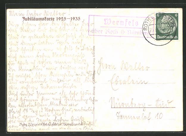 AK Landpoststempel Wernfels über Roth (b Nürnberg) 0