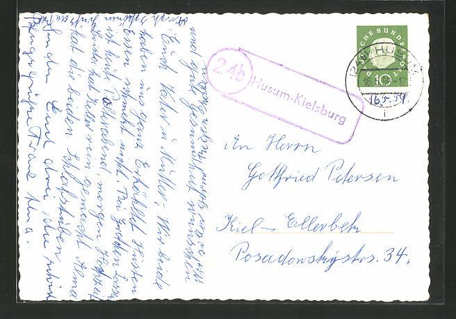 AK Landpoststempel 24b Husum-Kielsburg 0