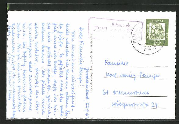 AK Landpoststempel 7951 Biberach an der Riss Jordanbach 0