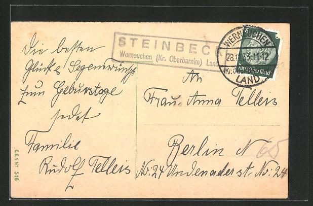 AK Landpoststempel Steinbeck Werneuchen (Kr. Oberbarnim) Land 0