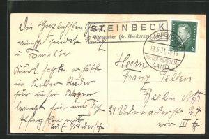 AK Landpoststempel Steinbeck Werneuchen (Kr. Oberbarnim) Land